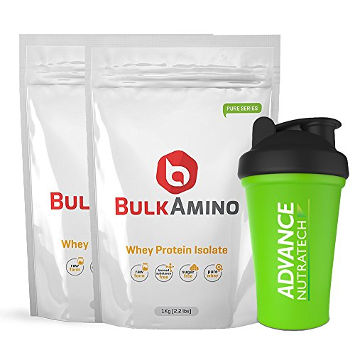Advance Nutratech Bulkamino Whey Protein Isolate 2Kg 4.4Lbs(1Kg X 2 Pouches) Unflavoured + Free Shaker … by ADVANCE NUTRATECH