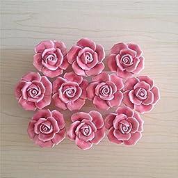 SunKni 41mm 10Pcs Rose Flower Floral Knobs Ceramic Drawer Handles Pulls for Wardrobe Cupboard Dresser Cabinet Closet Kitchen Furniture with Free Screws 2016 New Sets Pack of 10 (Pink)
