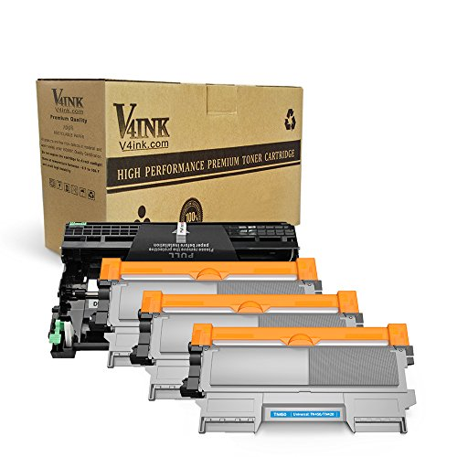 V4INK (1 Drum + 3 Toners) New Compatible Brother DR420 Drum + Compatible Brother TN450 Toner Cartridge Black High Yield Combo for Brother HL-2240D HL-2270DW HL-2280DW MFC-7360N MFC-7860DW Printer Compatible Black Drum Cartridge