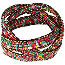Doinshop New Useful Cute Nice Funny Hot Lady Bohemian Beaded Bangle Bracelet Multilayer Jewelry (colorful)