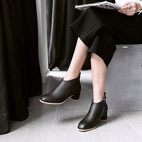 Meotina Kvinners Ankelstøvletter Zip Tykke Høye Hæler Damer Korte Støvler Våren Kvinnelige Sko Svart