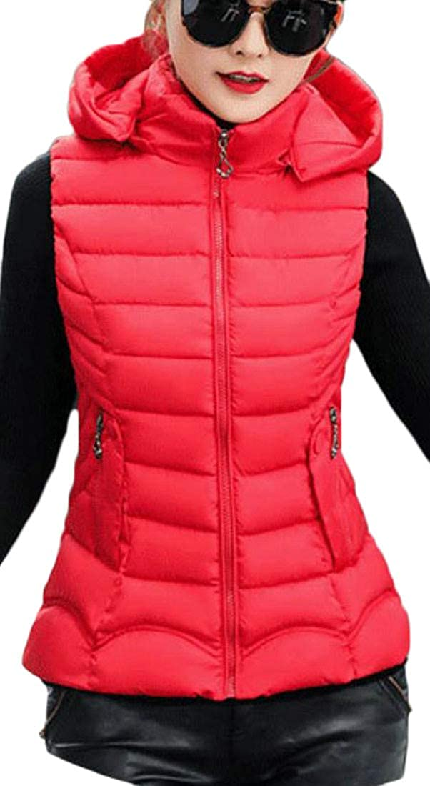 Bigbarry Women Hooded Padded Thicken Puffer Vest Fall Winter Quilted Down Vest