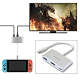 Nintendo Switch Dock,KSWNG HDMI Type C Hub Adapter for Nintendo Switch,Samsung Galaxy S8/S8P Dex mode
