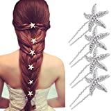 QTMY 6 Pcs Bride Crystal Rhinestone Starfish Hair Pin Hair Jewelry Hair Accessories