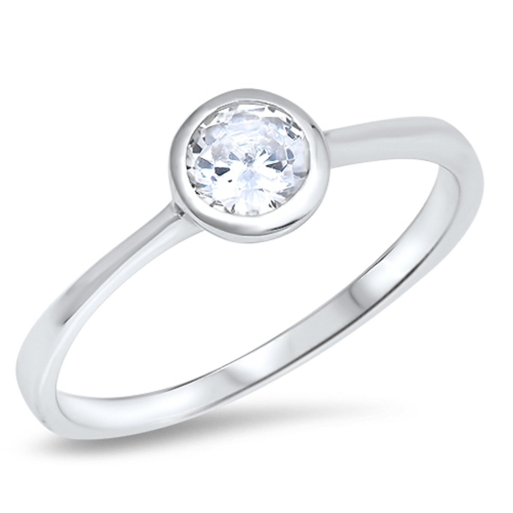CloseoutWarehouse Round Bezel Set Cubic Zirconia Solitaire Ring Sterling Silver Size 4