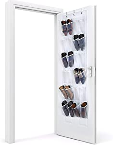 Eutuxia Over the Door 24 Pocket All Purpose Organizer Hanging Rack with 3 Steel Door Hooks. Breathable Mesh Back with Transparent PVC Pockets. Good for Closet, Kitchen, or Organizing Your Room. Space Saver.