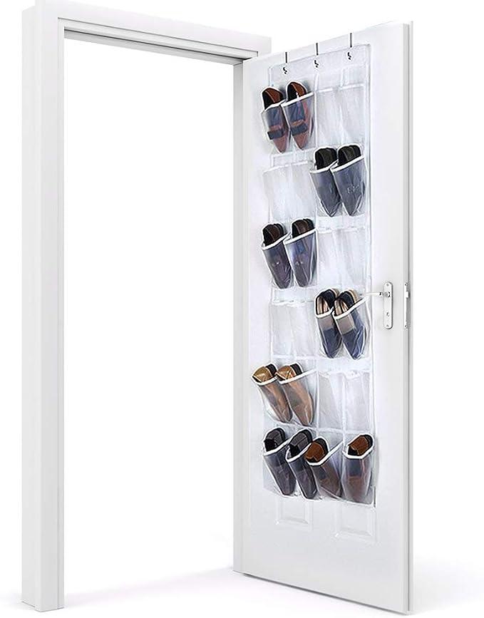 Huizhirem Koeutacue Large 24 Pockets Over The Door Shoe Organizer Hanging Shoe Storage Holder for Bathroom Bedroom,Hanging Shoe Rack Behind The Door with 4 Steel Hooks Beige