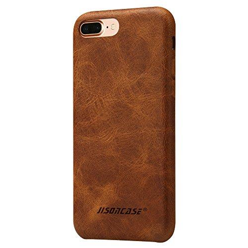 Jisoncase ELEGANT Leder Back Cover Case für iPhone 7 Plus 5,5 Zoll Hülle, Ultra Slim Tasche in Braun JS-I7L-08A20