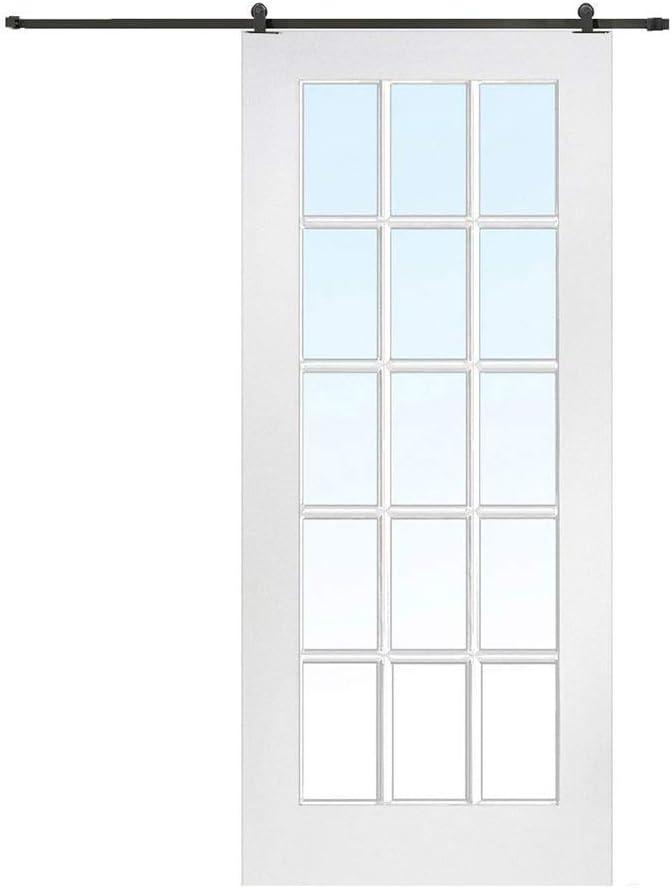 Herraje para Puerta Corredera Kit 150-250cm Riel colgante de puerta corrediza montada en la parte superior Juego completo de accesorios de hardware Riel de polea para puerta de empuje y tracción inter