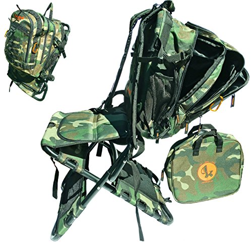 Chair-Pak Best Backpack Chair for Outdoors Lightweight Comfortable Rugged Portable Easy to Use Folding Hunting Chair with Cooler - CAMOUFLAGE