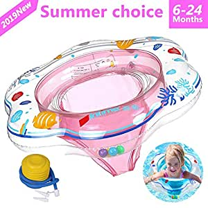 ADDCOOL Baby Float Swimming Ring with Safety Seat, Baby Double Airbags Floating PVC Inflatable Pool Bathtub Training Floats (Pink)