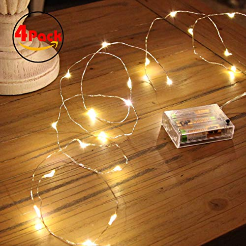 Ariceleo Led Fairy Lights Battery Operated, 4 Packs Mini Battery Powered Copper Wire Starry Fairy Lights for Bedroom, Christmas, Parties, Wedding, Centerpiece, Decoration (5m/16ft Warm White)
