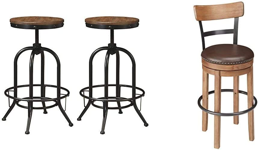 Ashley Furniture Signature Design - Pinnadel Bar Stool - Pub Height - Set of 2 - Rustic Brown & Design - Pinnadel Swivel Bar Stool - Pub Height - Light Brown