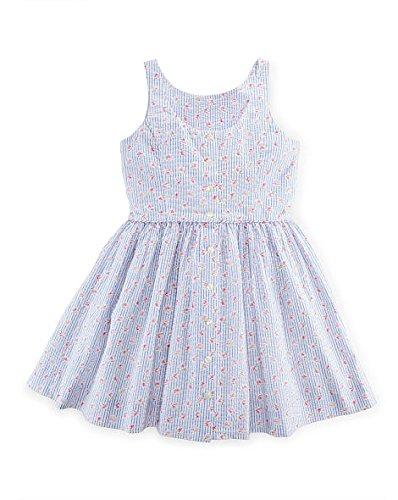 Ralph Lauren Girls' Cotton Seersucker Dress (7, White/Blue Multi)