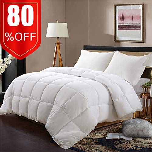 (EDILLY White Down Alternative Quilted King Comforter-Stand Alone Comforter for King Size Bed,Year Round Duvet Insert with 4 Corner Tabs,90''x 102'',White)
