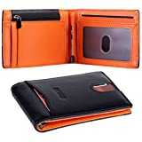 BIZZCA Men Wallet with Money Clip,RFID Blocking Slim Wallet | Credit Card Holder | Travel Wallet | Minimalist Mini Wallet for Men (Black and Orange)