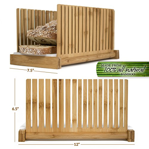 Bamboo Bread Slicer | Perfect Homemade Bread Slices Using Wooden Cutting Guide | Compact & Foldable...