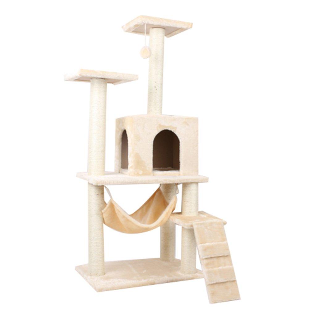 Beige Cat climbing frame particle board three color multifunctional cat tree cat scratch board durable beautiful cat nest 140cm60cm55cm (color   Beige)