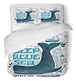 Emvency 3 Piece Duvet Cover Set Breathable Brushed Microfiber Fabric Deep Blue Sea Nautical Vintage Label with Whale Boat Anchor Lettering and This Bedding with 2 Pillow Covers Full/Queen Size
