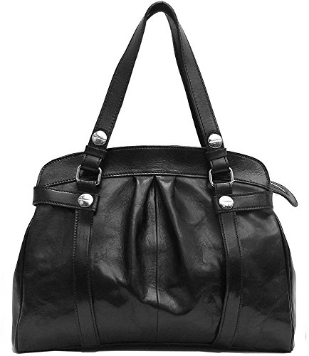 Black Milano Leather Handbags - Floto Milano Shoulder Bag in Black Italian Calfskin Leather