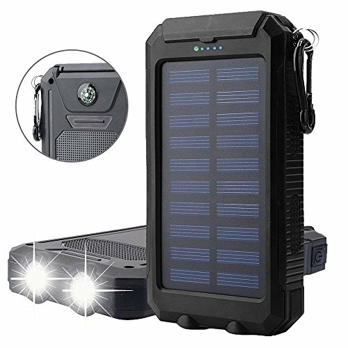Time Collect Solar Charger, Solar Power Bank 20000mAh Waterproof External Backup Battery Pack Dual USB Solar Panel Charger with 2LED Light for iPad iPhone Android Cellphones