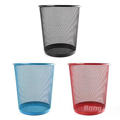 C&C Products New Colourful Metal Mesh Waste Bin Rubbish Paper Net Basket Home Office Durable by C & C