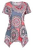Nanquan-women clothes NQ Womens Floral Print Soft Stylish Short Sleeve Handkerchief Hem Blouse Top Shirt Three US XS