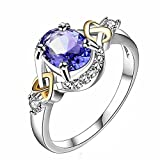 AIMTOPPY Women Wedding Engagement Ring Crystal Jewelry Rings Zircon ring (Dark Blue, US:6)