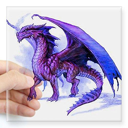 CafePress Purple Dragon Square Sticker 3 X 3 Square Bumper Sticker Car Decal, 3
