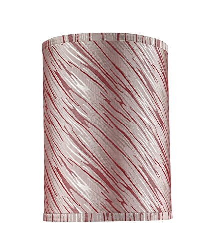 Off White Jersey 8\ Off White Jersey 8\ Aspen Creative 31035 Transitional Hardback Drum (Cylinder) Shape Spider Construction Lamp Shade in Off-White with Red Striping, 8  Wide (8  x 8  x 11 )