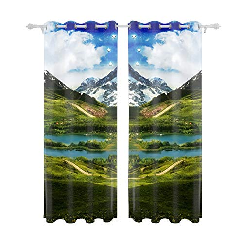 Verna Christopher Starry Sky Golf Course Curtain Panels for Bedroom Window Treatments Room Darkening Vintage Multicolor Curtains for Living Room Patio Door -