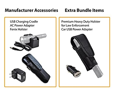 Premium Bundle- Fenix RC20 1000 Lumens Rechargeable Cree XM-L2 U2 Tactical LED Flashlight with USB Charging Cradle, LumenTac Heavy Duty Holster