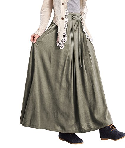 Femirah Women's Cotton and Linen Maxi Skirt 6 Colors (Pea (Green Linen Skirt)