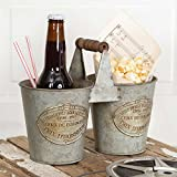 "Colonial Tin Works Double French Caddy/Tray w/Wooden Handle Kitchen Supplies, 9½""W x 5""D x 7½""H, Gray"