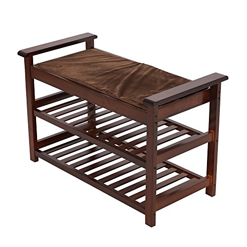 Lucky Tree Espresso Upholstered Bench with Padded Seat 2 Tiers Bamboo Storage Rack Standing Shoe organizer Shelf with Cushion for Entryway BedroomMud Room by Lucky tree (Image #3)