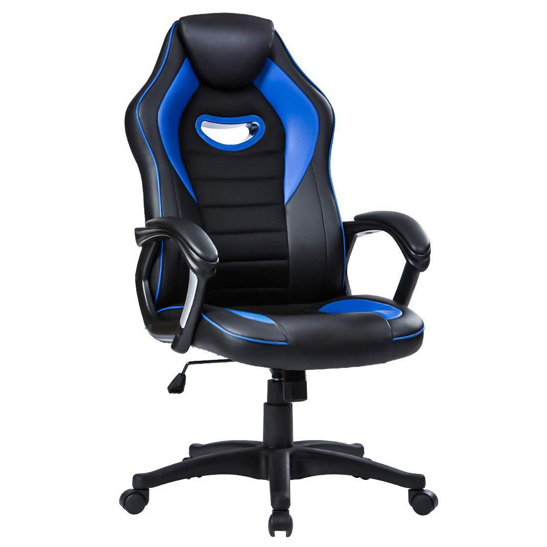 LIANFENG Racing Style High Back Leather Gaming Office Chair, Ergonomic Swivel Computer Desk Chair with Headrest and Armrest for Home and Office, Blue by LIANFENG