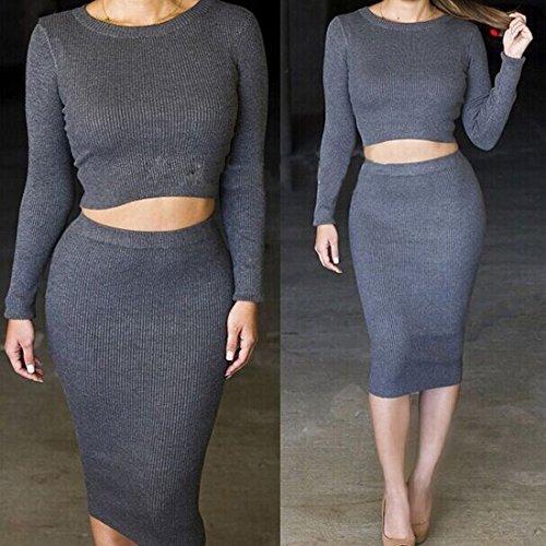 couleurs unies retro etirer manches longues pour femmes affleurent court tops blouses t-shirt taille haute crayon midi tailleur jupe ensemble