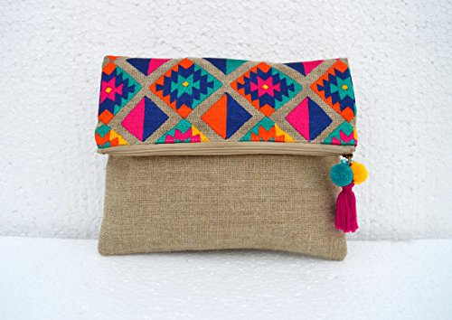 Moroccan Inches Clutch Linen Embroidered Bag Boho 10x8 Vliving Pouch Foldover Pattern Kilim HPw7cAxYq