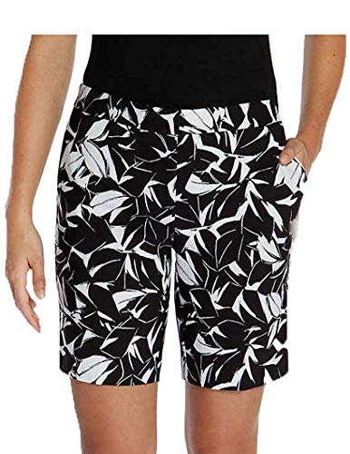 Mario Serrani Womens Italy Comfort Stretch Shorts with Tummy Control (12, Black/White) ()