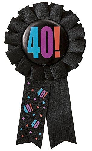 Pinback Love Button (Birthday Cheer 40th Birthday Award Ribbon)