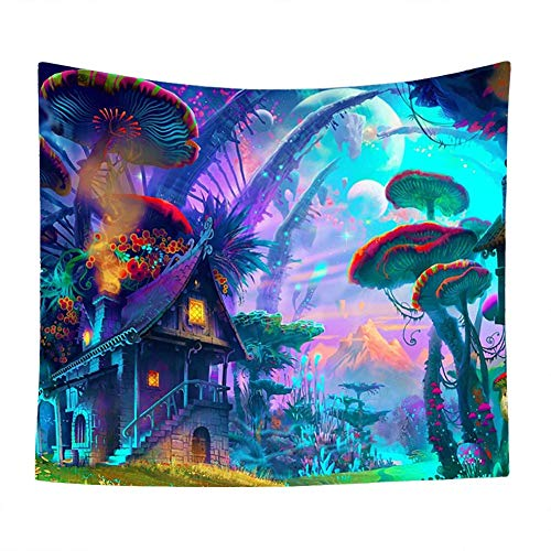 (QuanCheng 3D Printing Fantasy Plant Magical Forest Tapestry Trippy Psychedelic Mushroom Electric Forest Art for Home Decor Wall Hanging Tapestry(51Wx59L))