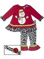 Rare Editions Baby Girl Chevron Zebra Snowman Set Headband (0m-24m)
