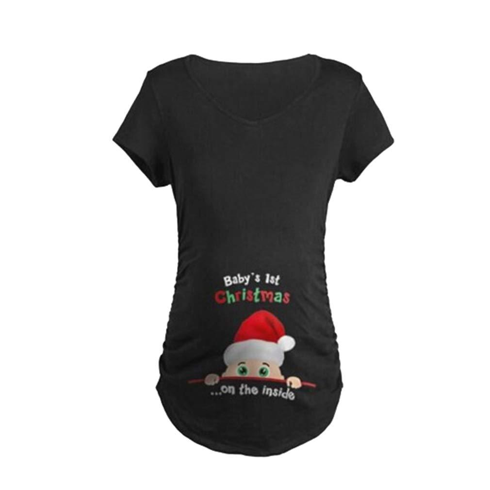JiXuan Christmas Letter Printed Casual Blouse T-Shirt Women Long Sleeve Maternity T-Shirt