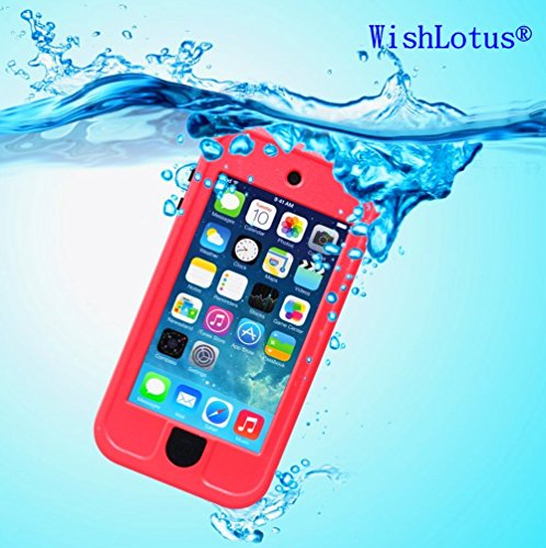 IPod Touch 6 Waterproof Case,IPod Touch 5 Waterproof Case,WishLotus® Waterproof Shockproof Dust Proof Snow Proof Touch Sensitive Case Cover for Touch 6/5 for Swimming Diving Outdoor Sports (Red)