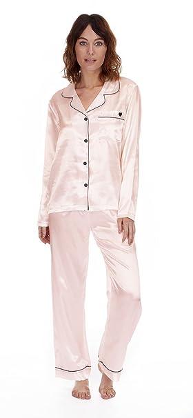 Pyjamas - Pijama - para mujer Negro Rosa Palido M