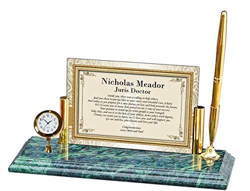 Personalized Poetry Clock Gift Lawyer Law School Graduation Attorney Passing The Bar Present Mini Desk Table Clock Marble Brass Pen Set School Congratulation Present ()