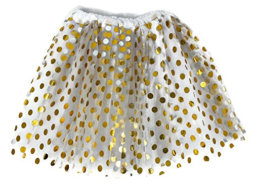 Rush Dance Teen Adult Classic Ballerina 3 Layers Polka Dots Tulle Tutu Skirt (Teen/Adult, White with Gold Dots) -