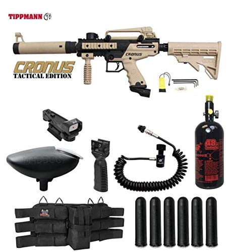 Paintball Complete - MAddog Tippmann Cronus Tactical HPA Red Dot Paintball Gun Package - Black/Tan