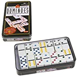 UJuly 28Pcs Dominoes Double 6 Color Dot with Metal Box Comes with Instructions for 12 Domino Games Toy Game Set for Children Gift