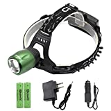 Genwiss Green Led headlamp - Super Bright 1800 lumen Head lamp CREE XML T6 Zoomable Waterproof Torch Rechargeable Batteries, Car Charger, Wall Charger for Camping Biking Hunting Fishing